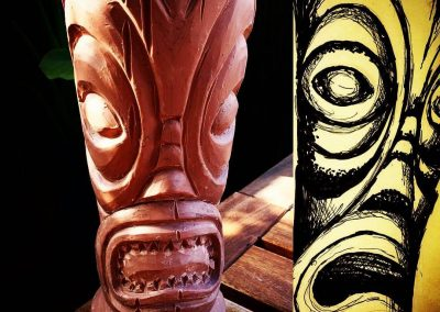Forbidden Island Tiki Mug and its sketch during design